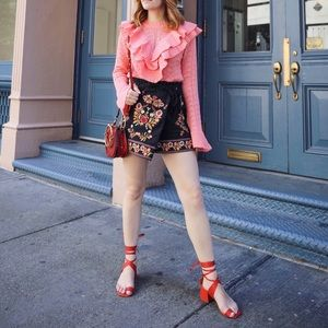 Free People Red Lace Up Sandals